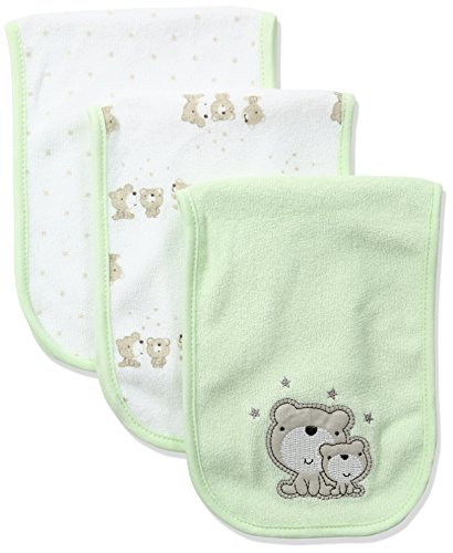 Flannel Newborn Teddy Bears - Gerber Baby 3-Pack Terry Burp Cloth, teddy bear, 18