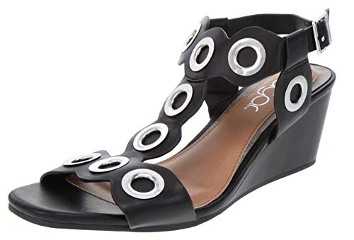 Sugar Women's Icicle Slingback Wedge Sandal with Large Grommet Detail and Buckle Closure 11 Black