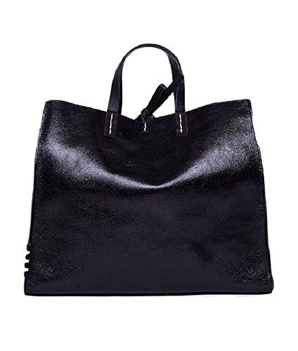 Borsa Manila Grace felicia Bag big tote lamè w01239 md500 nero fw 17/18
