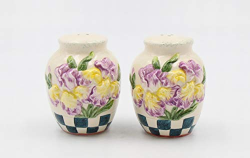 Iris Salt - Fine Ceramic Iris Flower Design Salt & Pepper Shakers, 3