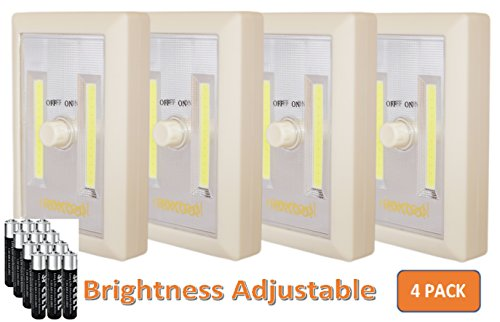 [New Version] 4-Pack Dimmable Battery Included COB LED Battery Closet Light, Adjustable Brightness, Tap Light, Battery Operated LED Night Light, Battery & Adhesive Strip (Included), Cream by nextool