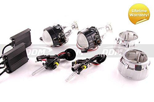 Pair of DDM Tuning Bi Xenon Retrofit Mini H1 Projectors V3 Ultra,2.5in, W / DDM Slim 55W HID Kit and Mini GG Shrouds, (DDM 55W,5000K)