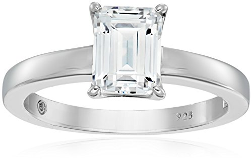 (Platinum-Plated Silver Emerald-Cut Solitaire Ring made with Swarovski Zirconia, Size 7)