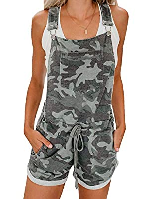 Ofenbuy Womens Stars Camo Overall Shorts Casual Elastic Waist Summer Vintage Jumpsuits Rompers