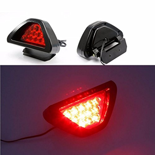 - Ecosin Fashion Universal F1 Style 12 LED Red Rear Tail Third Brake Stop Safety Lamp Light Car