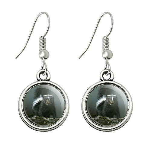 GRAPHICS & MORE Curious Skunk Novelty Dangling Drop Charm Earrings ()