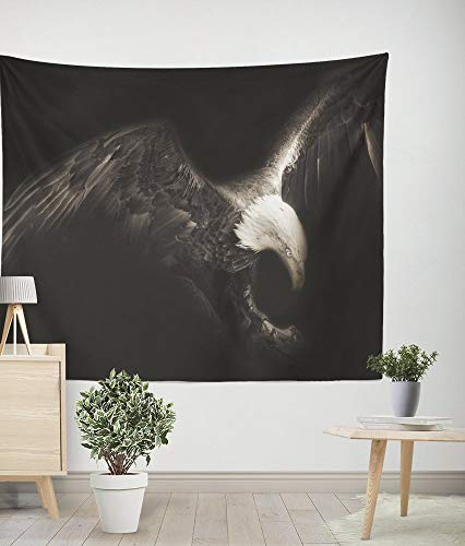 Gwein Flying Eagle Art Wall Hanging Tapestry Fabric Bedroom Living Room Dorm Decor Easy to Clean 79x59Inch