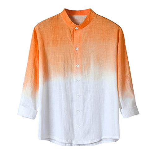 Sherostore ♡ Men's Dip Dye Linen Cotton Blend Short Sleeve Casual Shirt Gradient Shirts for Vacation Orange