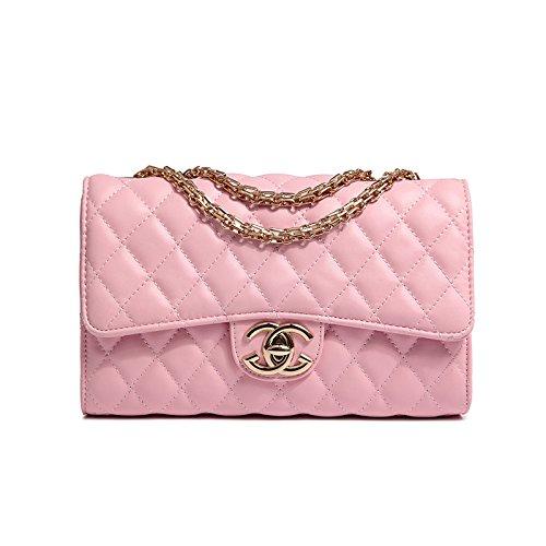 PXUDB 2018 Moda Cuatro Estaciones Oro Lingge Cadena Bolso De Hombro Cuerpo Cruzado Mujeres Mini Bolso Embrague Clásico Bolso De Noche Bolso Del Partido Pink