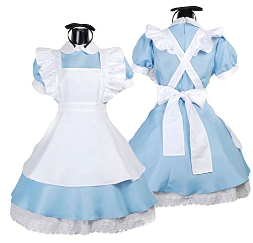 King Ma Women's Fancy Halloween Maid Dress Costume Cosplay Outfit with Apron Blue