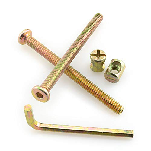 RuiLing 12 Sets Furniture Bolts and Nuts Set Woodworking Fastener Fixing Screws - 1/4-20x2-1/2 Inch Flat Hex Socket Head Cap Screws Bolts + 1/4x12 Cross Head Barrel Nut + M4x21x57 Allen Wrench