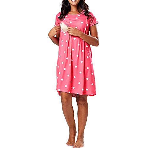 (Women's Maternity Heart Print Short Sleeve Pregnancy Nursing Dresses for Breastfeeding (XL, Pink))