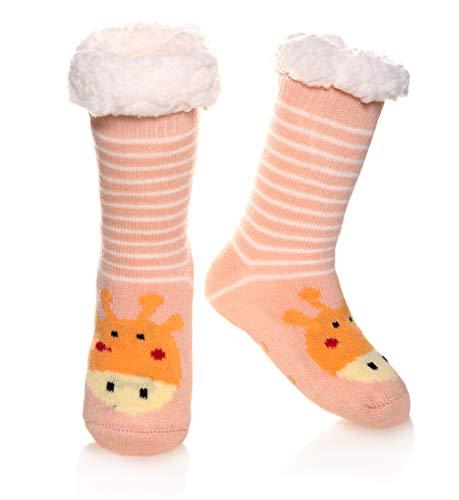 (Boys Girls Fuzzy Slipper Socks Kids Soft Warm Thick Fleece lined Christmas Stockings For Child Toddler Winter Home Socks(Pink Deer,3-4 Years))