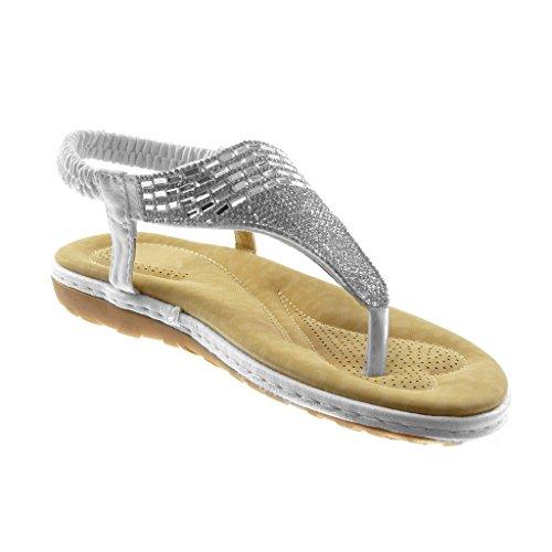 Lanière cm Salomés Angkorly Brillant Chaussure Talon Mode Cheville Sandale 2 Diamant Femme 5 Tong Strass on Plat Bijoux Blanc Slip wqfUq0xO