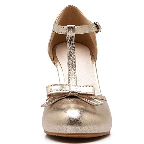 Janes Adorable Strap Dress Sweet Vintage Bows T Round Mary Toe Pumps Women's KingRover Gold Chic xUqY8Pw1