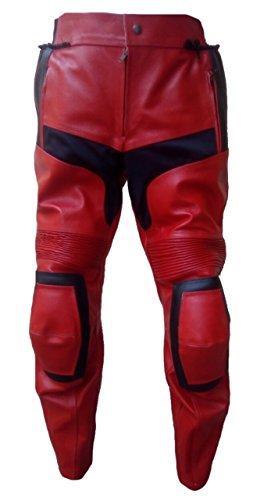 Black De Noir Red Et Moto Cow Pantalon Rouge Bestzo amp; Deadpool Leather PqxUwpaH