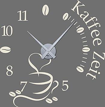 GRAZDesign 800465_SI_816 Wandtattoo Uhr mit Uhrwerk Wanduhr Küche Kaffee  Zeit Kaffeetasse Kaffeebohnen (58x57cm//816 Antique White//Uhrwerk silber)