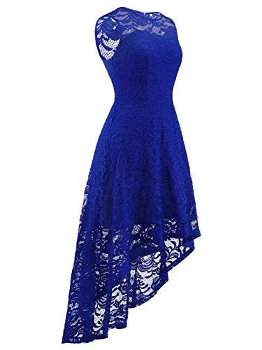A Cocktail Vintage Sans Couple Dl022 Femme Pour Soirée De Fairy Bleu Royal Manches Robe QhtrdCs