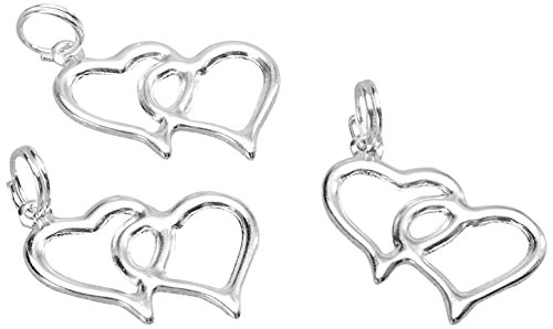 Darice Double Linked Heart Charms Favor Invitation Decoration Silver 20 Pieces ()