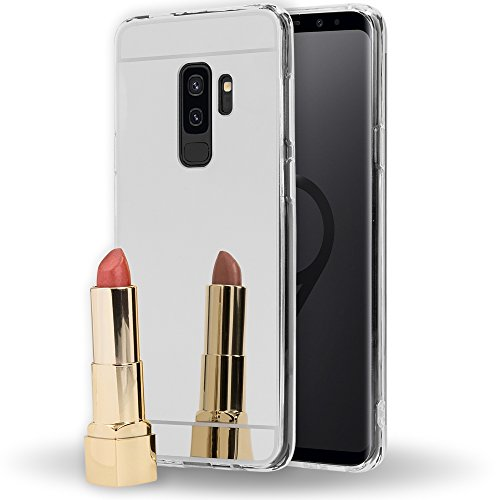 Samsung Galaxy S9 Plus Mirror Case by NALIA, Ultra-Thin Shiny Protective Selfie TPU Silicone Cover Slim Shockproof Gel Protector with Reflective Back Phone Bumper Skin for Samsung S9+, Color Silver