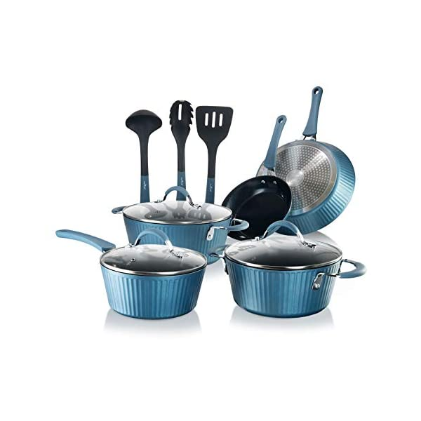NutriChef Nonstick Cookware Excilon Home Kitchen Ware Pots & Pan Set with Saucepan, Frying Pans, Cooking Pots, Lids… 1