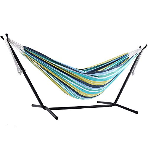 Vivere Double Cotton Hammock with Space Saving Steel Stand, Cayo Reef (450 lb Capacity - Premium Carry Bag Included)