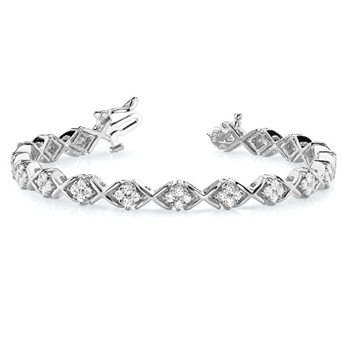 omega jewellery 2.16 Ct Natural Diamond Solid 14K Gold Twisted Cluster Link Bracelet In 7 Inches (white-gold) by omega jewellery