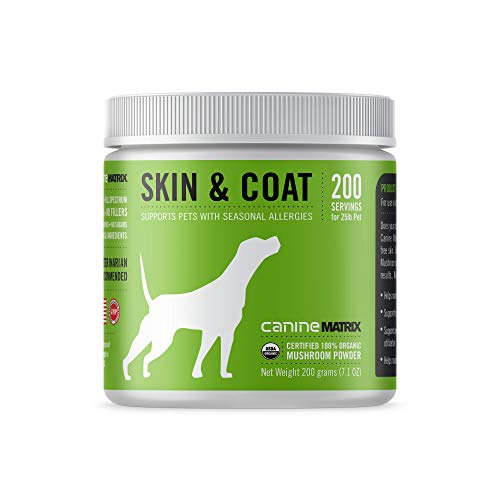 - Canine Matrix Organic Mushroom Supplement for Dogs, Skin & Coat, 200 Grams