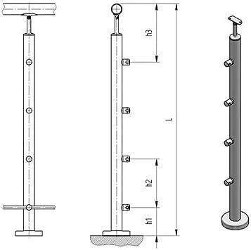 Juego 2 Stk. Acero inoxidable postes anclaje superior para escaleras Base Montaje sliff K320: Amazon.es: Bricolaje y herramientas