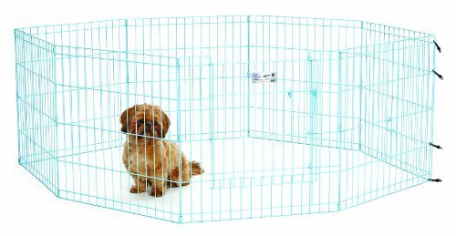MidWest Homes for Pets Exercise Pen for Pets with Full Max Lock Door, 24-Inch, bluee by Midwest Homes for Pets