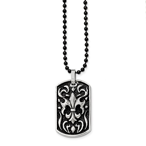 Chisel Stainless Steel Antiqued Fleur de lis Dog Tag Necklace - 24 Inch