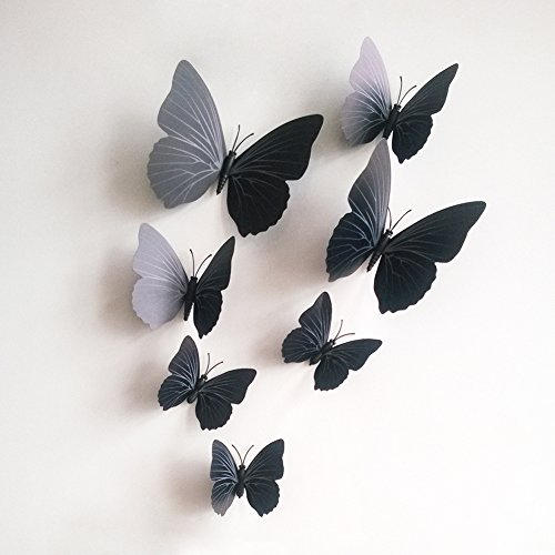 12 PCS 3D Black Butterfly Stickers DIY Mural Art Decal Wall Stickers Crafts Wall Paper Decor