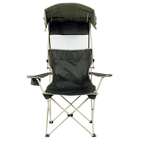 C-Xka Folding Chair With Dark Green Sun Canopy Lounge Chair Portable Fishing Chair Outdoor Folding Beach Chair Camping Relaxing Chair