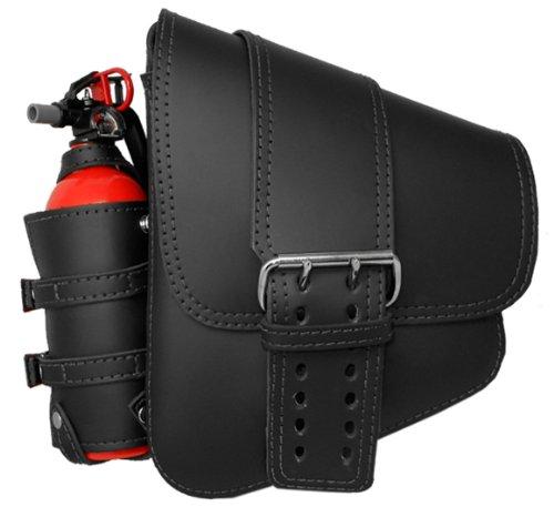 La Rosa Harley-Davidson Softail & Rigid Black Leather Solo Strap Left Saddlebag + Mini Fire Extinguisher & Holder