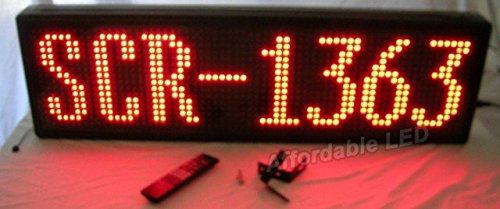 Affordable LED SCR-1363 13 H x 23 L x 3.5 D in. Single Color RED Indoor Window Scrolling Sign