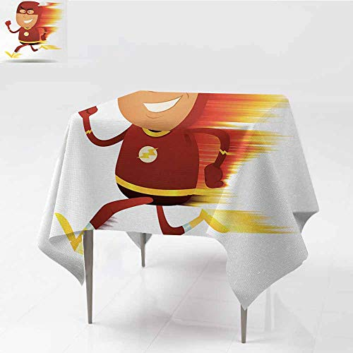Diycon Square Tablecloth Superhero Lightning Bolt Man with Cape and Mask Fast Fun Cartoon Character Artwork Print White Red Washable Tablecloth W54 xL54