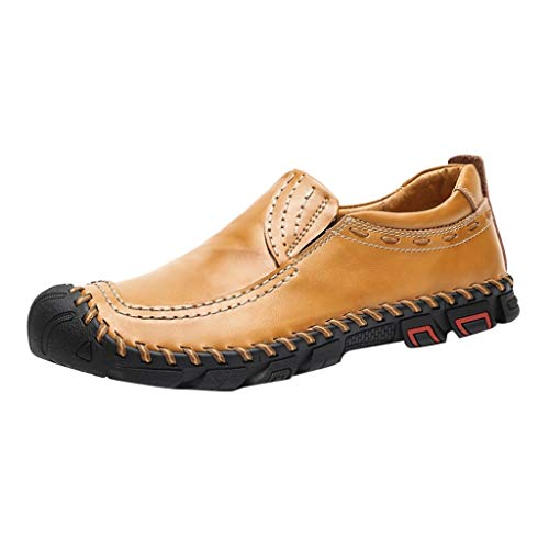 JUSTWIN Men Leather Shoes Outdoor Lazy Shoes British Style Business Casual Shoes Yellow]()