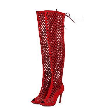 Marrón Botas Polipiel Talón 5 Para CN43 Verano UK8 EU42 5 Botas Peep Color De Toe Moda Botas Mujer Stiletto De Rojo Zapatos Negro De Gris US10 Sobre La RTRY Rodilla Vestir wqxvBaC