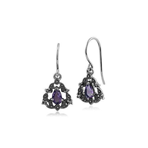 Gemondo Marcasite Earrings, Sterling Silver Amethyst & Marcasite Victorian Style Drop Earrings (Victorian Style Amethyst Earrings)