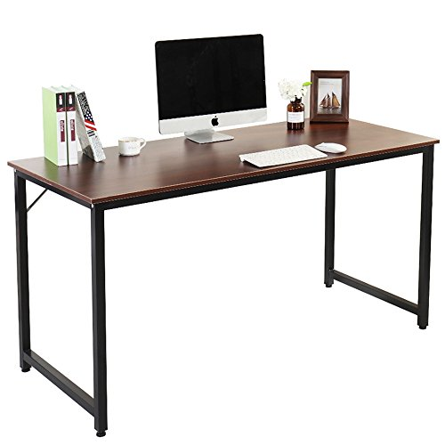 DlandHome Computer Desk 55'' PC Laptop Decent Modern Home Office Workstation with Triangular Solid Support Writing Studying Table, Walnut by DlandHome
