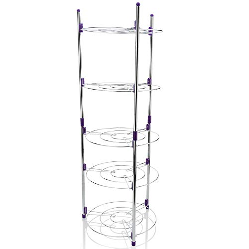 (EBH Chrome 5 Tier Round Shelf Storage Tower. Instant Shelves for Storage of Instapot Crock Pot Stock Pot Dish Pan Lids and More Includes 5 S-Hooks for Small Items)