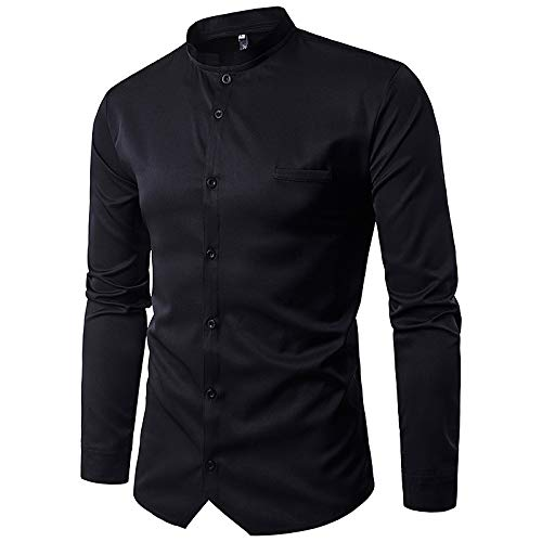 Black Large Men's Active Basic Cotton Slim Shirt  Solid colord Standing Collar