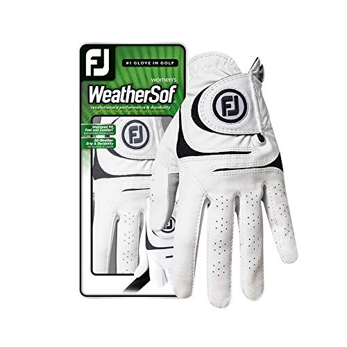 FootJoy Women's WeatherSof Golf Glove, White Medium, Worn on Right -