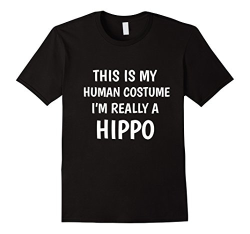 Hippo Costume Amazon (Mens This Is My Human Costume I'm Really A Hippo Funny T-Shirt Small Black)