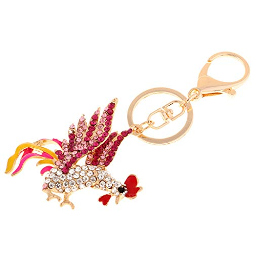 NATFUR Chicken Cock Rooster Rhinestone Crystal Purse Bag Key Chain Accesories Gift Perfect Elegant Novelty Great Lovely | Color - Pink