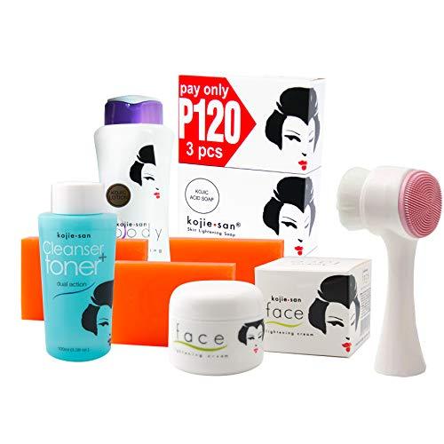Kojie San Face & Body Complete Whitening 7pc Set -Kojic Acid Soap, Body Lightening Lotion with SPF25, Face Lightening Cream, Toner & Cleansing Brush