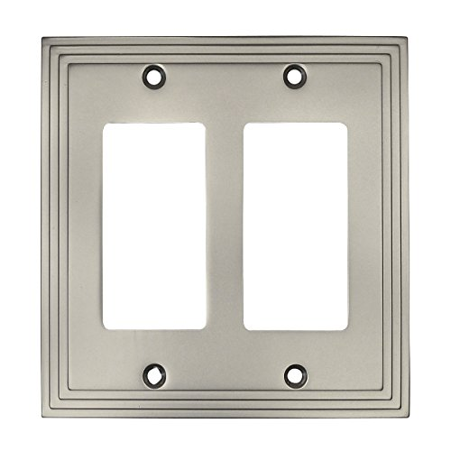 (Cosmas 25090-SN Satin Nickel Double GFI/Decora Rocker Wall Switch Plate Switchplate Cover )