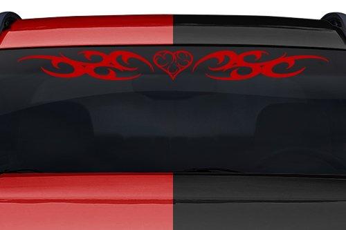 esign #168-01 Heart Tribal Swirl Curls Windshield Decal Sticker Vinyl Graphic Back Rear Window Banner Tailgate Car Truck SUV Van Boat Trailer Wall | 36