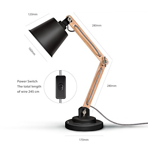 Tomons Desk Lamp, Natural Wood Table Lamp, Reading Lights with 4W LED Bulb for Study, Living Room and Office