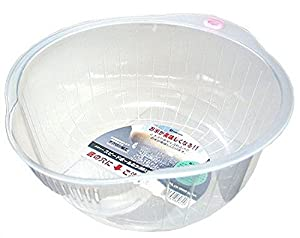 Inomata.0800 Japanese Vegetable Fruit Rice Wash Bowl, 8-Inch, Clear by Inomata